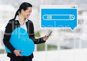 Job Search Bar box with woman holding phone and cloud