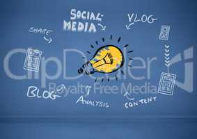 Colourful lightbulb and social media text with drawings graphics