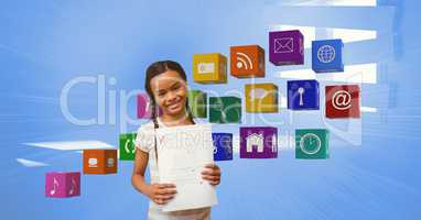 Happy girl with A plus grade showing papers by apps icons