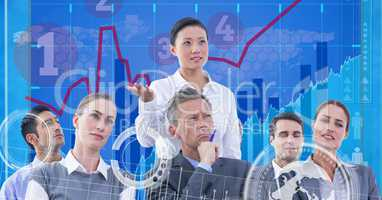 Digital composite image of tech graphics with business people in office