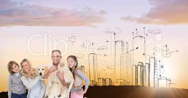 Digital composite image of family with dog against drawn city