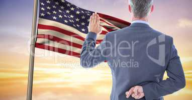 pledge allegiance to the flag with the fingers crossed