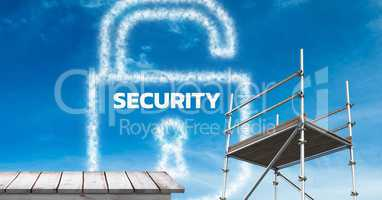 Security Text with 3D scaffolding and wooden shelf