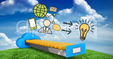 Digital composite image of various icons over cloud computing drawer
