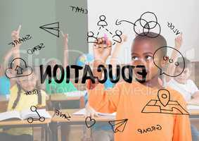 Education graphic in class balckboard