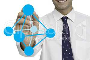 Digital composite image of businessman drawing geometric structure against white background