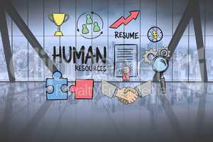 Human resource text surrounded by  graphics in office