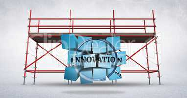 3D innovation graphic against scaffolding in white room