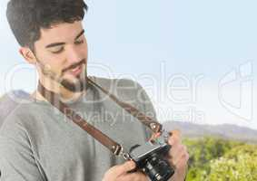 mountain travel, with the camera, looking the photos