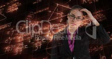Digitally generated image of confused businessman looking at glowing formulas