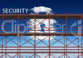 Security Text with 3D Scaffolding and lock cloud in sky