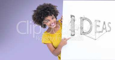 Happy woman pointing at idea text on bill board