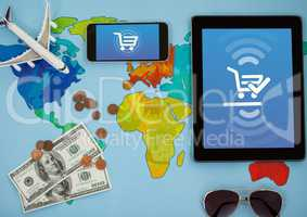 World map holidays with Tablet and phone with Shopping trolley icon