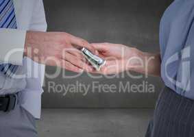 Business money exchange in grey room