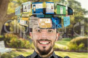 Composite image of man and websites pages outdoor