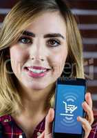 Woman holding phone with Shopping trolley icon