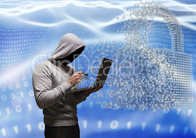 Grey jumper hacker with out face with the credit card and computer in code sea with lock