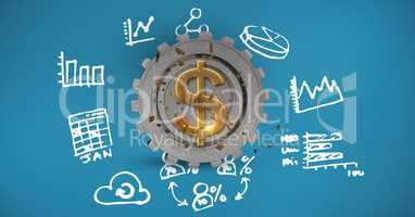 Digital composite image of dollar symbol on gear amidst various icons
