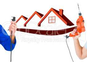 hand with plug and hand with drill with red houses bbackground