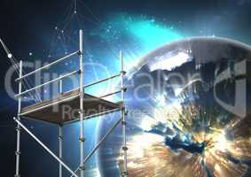 Planet earth interface with 3D Scaffolding