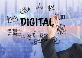 Business man hand writing graphic about digital