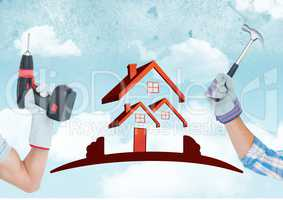 Hand with drill and hand with hammer with red house on sky background