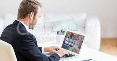 Businessman signing up on web page using laptop