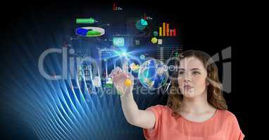 Digital composite image of woman touching futuristic screen
