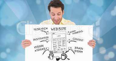 Digital composite image of businessman holding website plan on placard