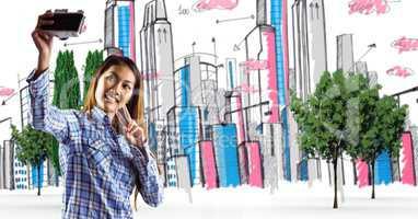 Digital composite image of traveler taking selfie in drawn city
