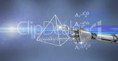 Digital composite image of robot hand touching math diagram