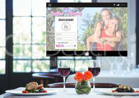 Dating App Interface romantic dinner