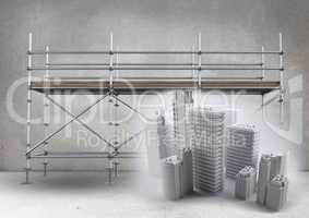 Buildings in front of scaffolding in grey room