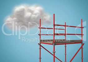 Cloud next to scaffolding against blue background