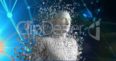 Digital composite image of 3d scattered human figure
