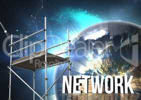 Network Text with 3D Scaffolding and planet earth interface