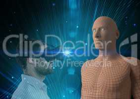 Digital composite image of man looking at 3d human figure through VR glasses