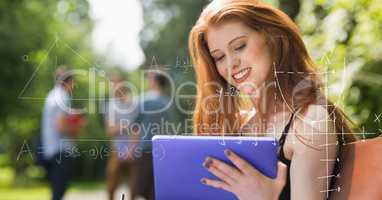 Digital composite image of various math equations with female college student using digital tablet