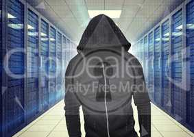 Black jumper hacker with out face hacking  a interface, white lock