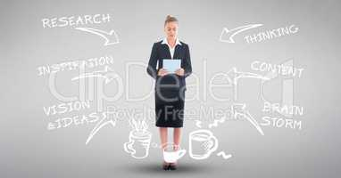 Digital composite image of businesswoman with tablet computer amidst various text and arrow symbols