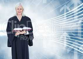 Judge holding book in front of curved background with arrows