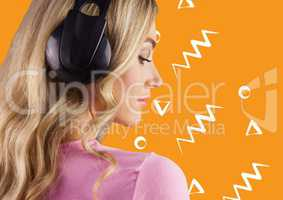 Woman in headphones against orange background with white patterns
