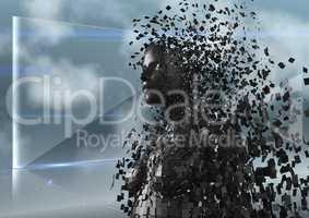 3D black female AI against glass screen and clouds