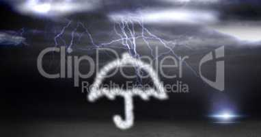 Digital composite image of umbrella made of cloud texture during thunder storm
