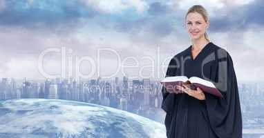 Digital composite image of judge holding book with city in background