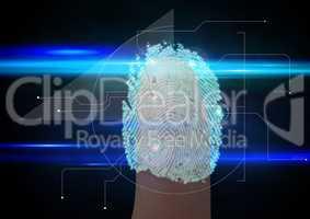 blue fingerprint scan. Only finger