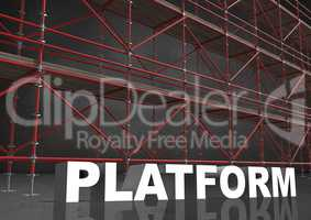 3D word platform in front of scaffolding in grey room