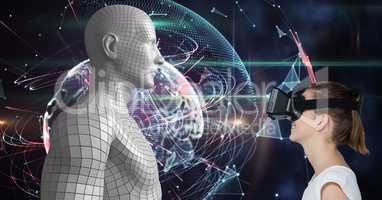 Woman looking at 3d human figure on VR glasses