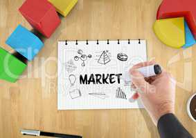 Market graphic on a notebook on a desk