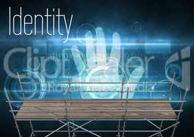 Identity Text with 3D Scaffolding and hand interface